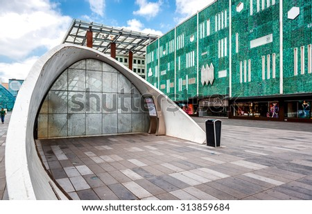 Eindhoven, Netherland- May 24, 2015: Closed parking garage for bicycle in the Eindhoven Plaza. Eindhoven is one of the five nominees to become best Cycling City of the Netherlands in 2014 - stock photo