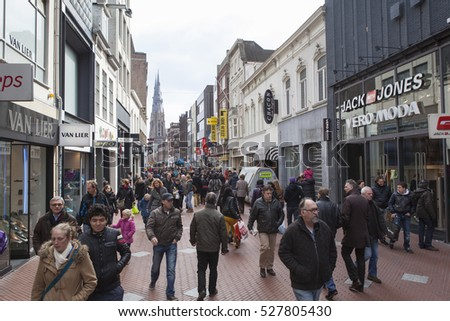 EINDHOVEN, NETHERLANDS - APRIL, 06 2013: Main shopping street in the busy city center