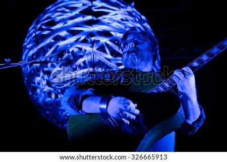 Eindhoven, the Netherlands - October 11, 2015: Soren Huss of Danish rock band Saybia performs live on stage at the Effenaar music hall.