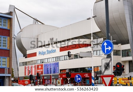 Eindhoven, the Netherlands - 15.09.2015: View at the Philips Stadium, home of the famous soccer team PSV Eindhoven