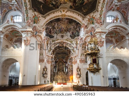 EINSIEDELN, SWITZERLAND - SEPTEMBER 11, 2016: A view of the interior of the Einsiedeln abbey, a famous catholic church in Canton Schwitz.