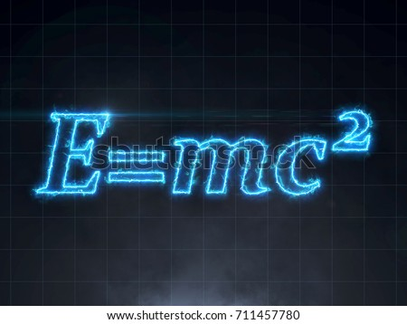 Einstein formula - E=mc2 Relativity Theory electric lightning text on black background with smoke and lens flare