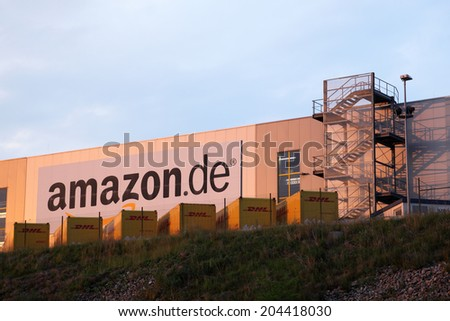 EISENACH, GERMANY - JUNE 1: Amazon main distribution center for Germany. June 1, 2014 in Eisenach, Germany - stock photo
