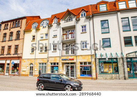 EISENACH, GERMANY - MAY 31, 2015: Architecture of Eisenach, Thuringia, Germany. Eisenach is a town and the main urban centre of western Thuringia