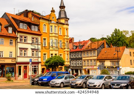 EISENACH, GERMANY - MAY 31, 2015: Architecture of the Bach square in  Eisenach, Thuringia, Germany. Eisenach is a town and the main urban centre of western Thuringia
