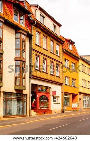 EISENACH, GERMANY - MAY 31, 2015: Colorful houses of Eisenach, Thuringia, Germany. Eisenach is a town and the main urban centre of western Thuringia