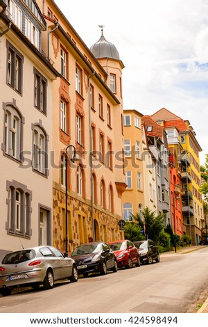 EISENACH, GERMANY - MAY 31, 2015: Colorful typical Architecture of Eisenach, Thuringia, Germany. Eisenach is a town and the main urban centre of western Thuringia
