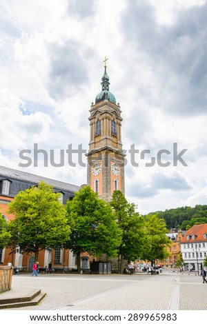 EISENACH, GERMANY - MAY 31, 2015: St. George's Church of Eisenach, Thuringia, Germany. Eisenach is a town and the main urban centre of western Thuringia