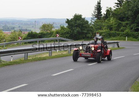 "EISENSTADT, AUSTRIA - MAY14: Bugatti Typ 40 on special stage Stotzinger Berg,  a yearly competition for vintage cars named "" 8th Oldtimer Fahrt"" on May 14, 2011 in Eisenstadt, Austria"