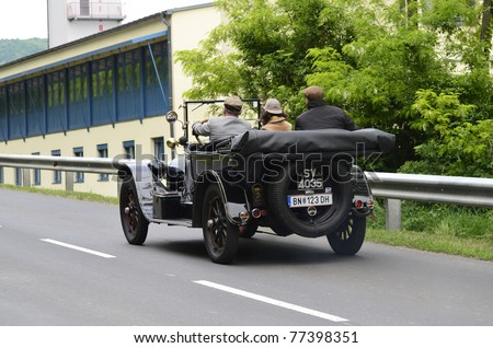 "EISENSTADT, AUSTRIA - MAY14: Buick D 45 built 1915 on special stage Stotzinger Berg,  a yearly competition for vintage cars named "" 8th Oldtimer Fahrt"" on May 14, 2011 in Eisenstadt, Austria"