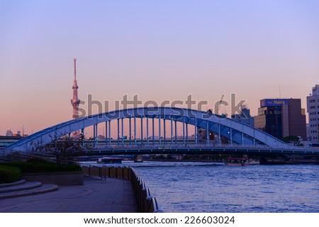 Eitai bridge and Skytree in Tokyo at dusk - stock photo