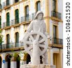 Eivissa ibiza town statue dedicated to all sailor and sea people - stock photo