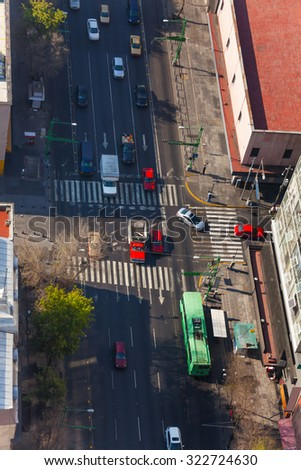 Eje Central Lazaro Cardenas street in Mexico from above with busses and cars - stock photo