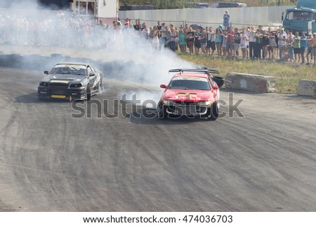 "Ekaterinburg, Russia, August 20, 2016 - II stage ""DRIFT KING 2016"" car Toyota Mark and Nissan Skyline GTR, the driver is unknown"