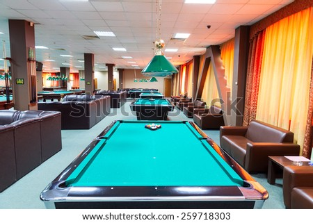 EKATERINBURG, RUSSIA - MAY 19, 2014: Billiard tables in a fashionable night club