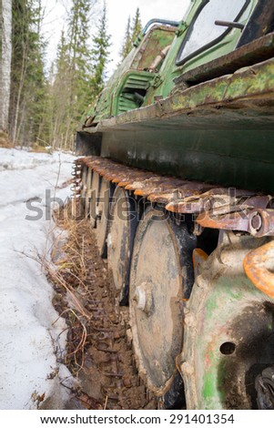 EKATERINBURG, RUSSIA - MAY 03, 2013: Old skidder at the forest in summertime