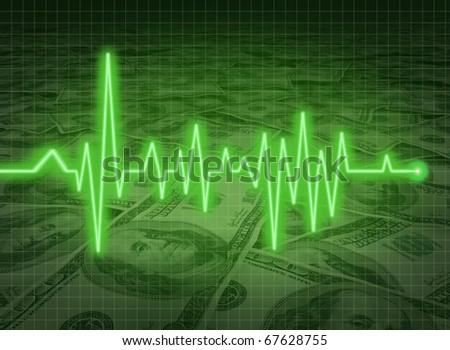 EKG ECG financial health economy money status savings critical condition - stock photo