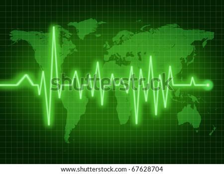 EKG ECG world health economy political condition green - stock photo