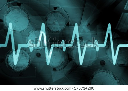 Ekg signal on blue screen - stock photo