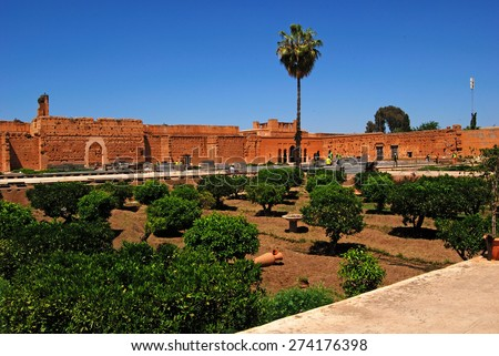 El Badi Palace gardens, Marrakech, Morocco - April 13, 2015: Ruined palace located in Marrakesh, Morocco. Commissioned by the Saadian sultan Ahmad al-Mansur