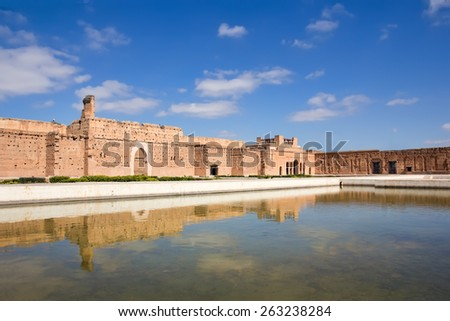 El Badi Palace or Palais El Badii in Marrakech, Morocco. - stock photo