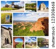 El Bierzo Collage, Leon, Spain. Camino de Santiago. - stock photo