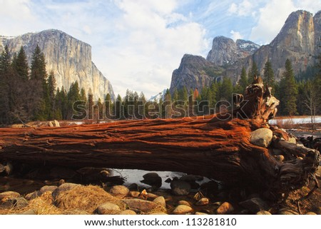 El Capitan and merced river , Yosemite National Park. - stock photo