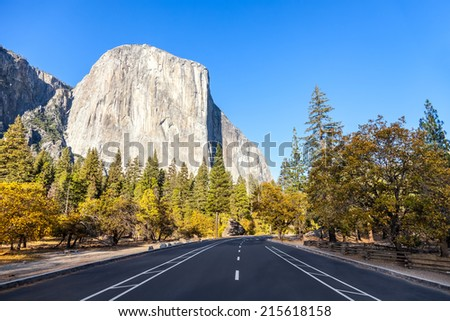 El Capitan in Yosemite National Park, California, road view - stock photo