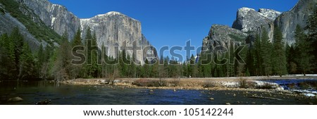 El Capitan Mountain And The Merced River, Yosemite National Park, California - stock photo