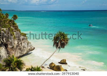 El Castillo at Tulum, Mexico - stock photo