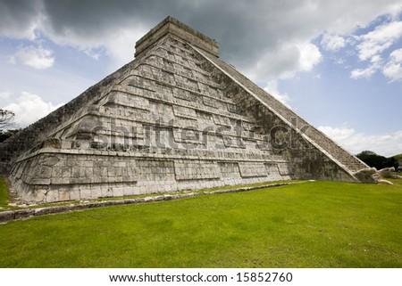 El Castillo, largest temple at Chichen Itza - stock photo
