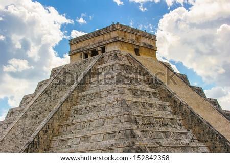 El Castillo, main pyramid of Chichen Itza, a large pre-Columbian city built by the Maya civilization. Mexico - stock photo
