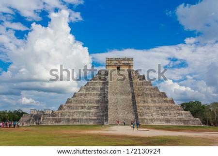 El Castillo of Chichen Itza - stock photo