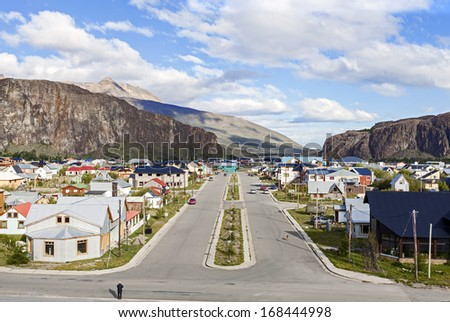 El Chalten, small mountain village in Santa Cruz Province within the Los Glaciares National Park at the base of Fitz Roy mountains  in Southern Patagonia, Argentina - stock photo