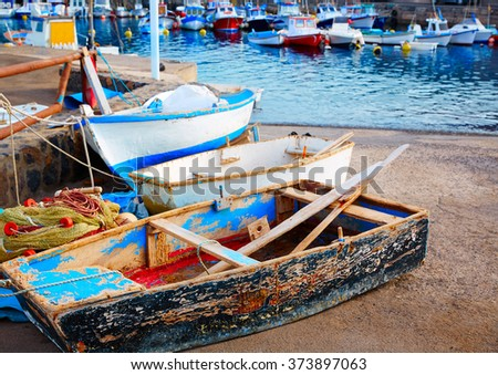 El Cotillo port fisherboats in Fuerteventura at Canary Islands of Spain