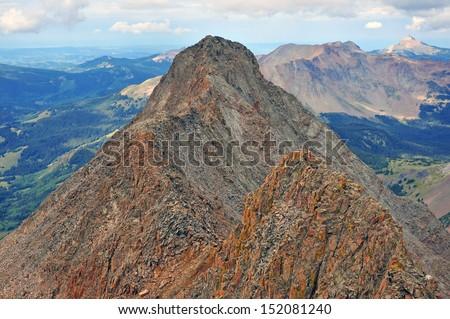 El Diente Peak as viewed from Mount Wilson Summit, Rocky Mountains, Colorado - stock photo