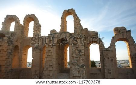 El Djem Amphitheatre arches. Arches of roman biggest amphitheater in africa in El Djam, Tunisia - stock photo