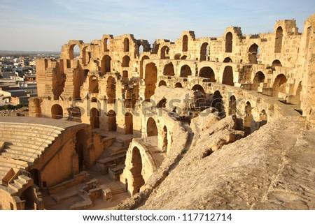 El Djem Amphitheatre in Tunisia. Part with arches of roman biggest amphitheater in africa in El Djam, Tunisia - stock photo