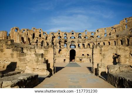 El Djem, Amphitheatre, Roman arena. The entrance to the center of roman biggest amphitheater in africa in El Djam, Tunisia - stock photo
