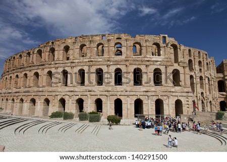 El Djem, Roman coliseum in Tunisia. - stock photo
