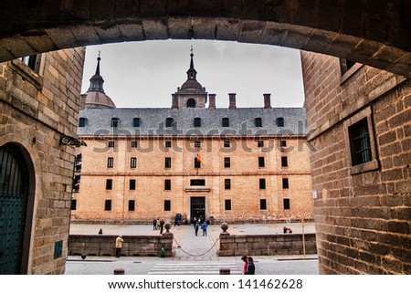 EL ESCORIAL, SPAIN - NOVEMBER 24: Royal Seat and Monastery of San Lorenzo de El Escorial on November 24, 2012 in El Escorial, Spain. Architect Juan Bautista de Toledo in 1563 - 1584 Renaissance style - stock photo