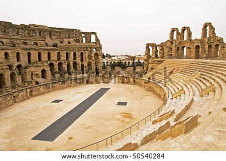 El Jem Colosseum, Tunisia. It is often incorrectly called a Colosseum, which is capable of seating 35,000 spectators
