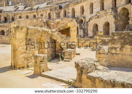 EL JEM, TUNISIA - SEPTEMBER 1, 2015: The picturesque ruins of the Roman amphitheatre are the best place to discover the ancient history, on September 1, in El Jem.
