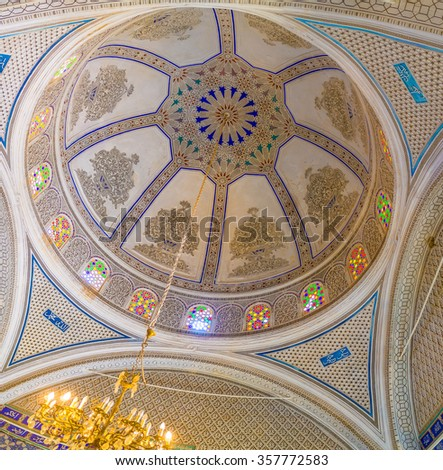 EL KEF, TUNISIA - SEPTEMBER 5, 2015: The cupola of the old mosque, serving as Ethnographical museum, decorated with islamic patterns of carved plaster, on September 5 in El Kef.