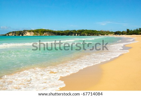 El Macao beach and ocean cliffs - stock photo