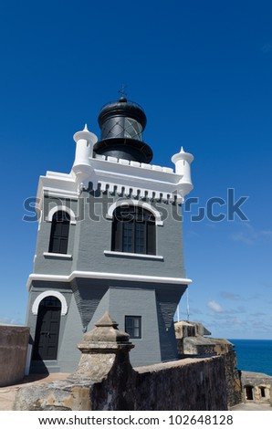El Morro Lighthouse (El faro del Morro) in Old San Juan, Puerto Rico