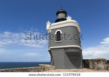 El Morro lighthouse on the fortification in San Juan, Puerto Rico - stock photo