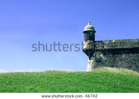El Morro Sentry Box San Juan Puerto Rico - stock photo