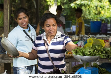 El NIDO, PHILIPPINES - FEB. 12: Village Asian market for the sale of fruit and vegetables El Nido FEB. 12, 2016 in El Nido Philippines.
