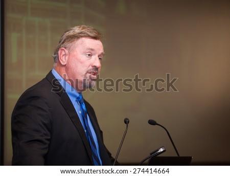 EL PASO  APRIL 30.  David Zuchowski, President/CEO, Hyundai Motor America speaks at a business event on April 30, 2015 at El Paso, Texas.  - stock photo